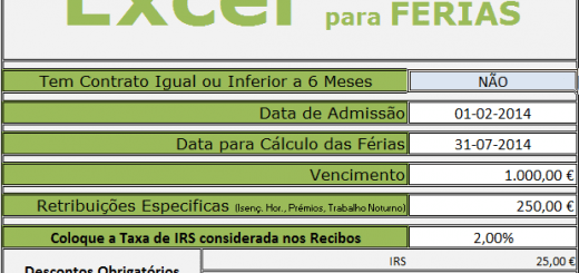 Excel Para Calculo do Valor a receber de Férias