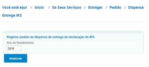 Dispensa de Entrega de IRS